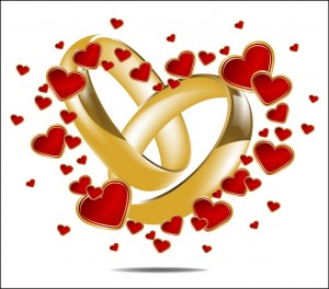 11518221 - illustration with wedding rings and red heart